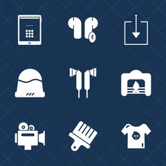 Premium set with fill icons. Such as tablet, warm, kid, hat, technology, cap, handle, arrow, download, drawing, fashion, stereo, brush, child, fireplace, headwear, sound, object, clothing, screen, web