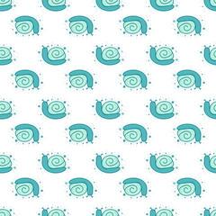 Seamless pattern of cartoon blue snails