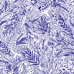 Vector floral seamless pattern with exotik leaves and birds