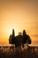 Wall Mural - Vitaleta Chapel at sunset, Tuscan landscape near San Quirico d'Orcia, Siena, Tuscany, Italy