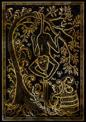 Monkey symbol with sword, books, baroque decorated tree and mystic signs on black texture background. Fantasy engraved illustration. Zodiac animals of eastern calendar, mysterious concept