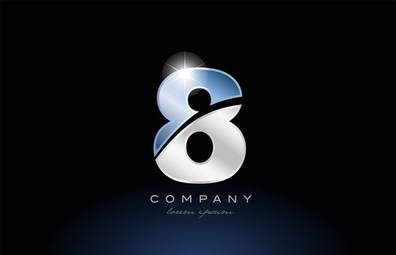 metal blue number 8 logo company icon design