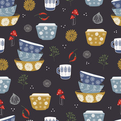 Vector kitchen seamless repeat pattern with dishes, cups, flowers, mushrooms, chilli pepper, onions, herbs on a dark background. Perfect for fabric, wallpapper, wrapping paper projects