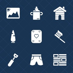 Premium set with fill icons. Such as milk, fashion, newspaper, brush, real, shorts, paper, template, baby, cooking, hygiene, nutrition, news, plastic, wear, internet, care, photography, kid, old, game