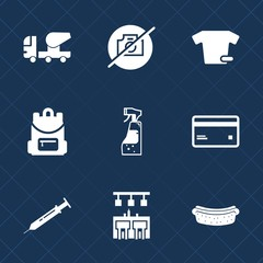 Premium set with fill icons. Such as machinery, banking, needle, bank, debit, school, sign, fashion, meat, picture, clothes, bottle, business, t-shirt, plastic, cleaning, dinner, industrial, bar, card