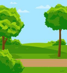 Park with green lawns. trees and bushes. Vector flat illustration.