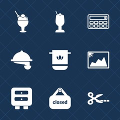 Premium set with fill icons. Such as beverage, bathroom, drawer, sweet, lime, ice, shop, cloth, strawberry, mathematics, vanilla, store, towel, lemon, calculator, drink, button, service, image, waiter