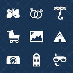 Premium set with fill icons. Such as mask, photo, adventure, warm, wing, grater, engagement, child, stroller, ring, insect, kitchen, image, christmas, tent, love, picture, home, travel, fire, hook