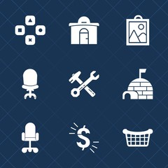 Premium set with fill icons. Such as currency, room, business, office, hammer, web, store, gaming, photo, camera, arctic, wrench, house, play, picture, armchair, igloo, video, usd, home, computer, ice
