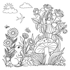 Vector illustration. The hare watches the girl who stands on the mushroom in flowers. Coloring book. Anti Stress for adults and children. The work is done manually. Black and white.