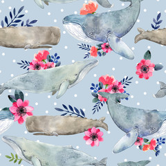 Watercolor illustration with whale. Seamless pattern with watercolor whales and summer flowers and dots.