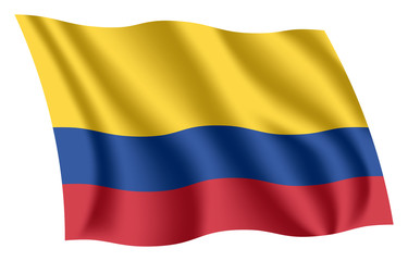 Colombia flag. Isolated national flag of Colombia. Waving flag of the Republic of Colombia. Fluttering textile colombian flag. National tricolor.