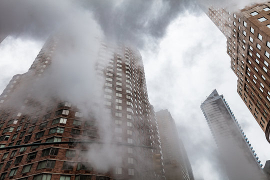 Cloud of vapor from the subway on the streets of Manhattan in NYC