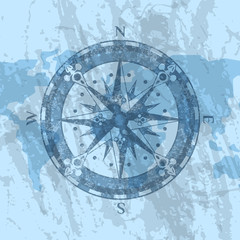 Compass rose on grunge background of world map. Geography research, worldwide traveling and exploration. Nautical navigation, topography and cartography concept, world discovery vector illustration.