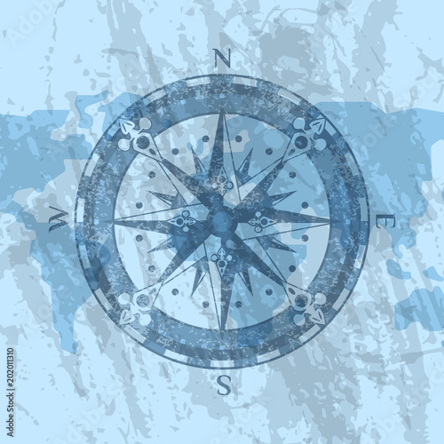 Compass rose on grunge background of world map geography research compass rose on grunge background of world map geography research worldwide traveling and exploration gumiabroncs Choice Image