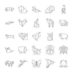 Origami Signs Black Thin Line Icon Set. Vector