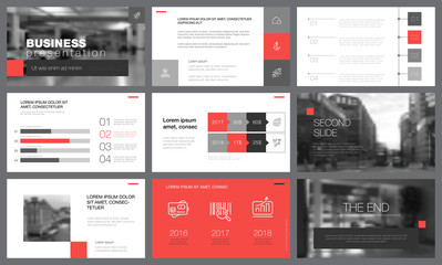 Black, red, and white design elements for slide templates
