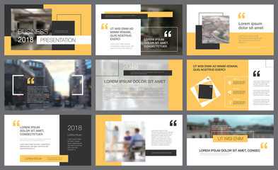Yellow and black design elements for slide templates