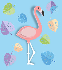 Tropical leaf and Flamingo Summer Banner,Paper art graphic Background