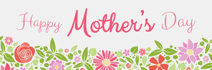Colourful banner with fresh flowers for Mother's Day. Vector.