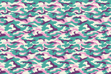 Camouflage texture, turquoise purple pink colors. Vector