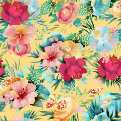 Beautiful, bright watercolor floral seamless pattern. Hand drawn flowers on yellow background