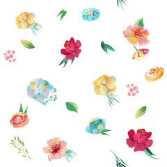Beautiful, bright watercolor floral seamless pattern. Hand drawn flowers on white background