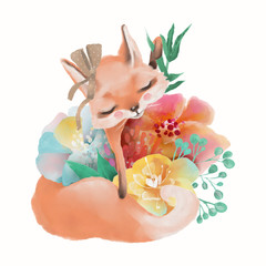 Cute watercolor baby animal fox with floral wreath, tied bow and flowers bouquet isolted on white illustration