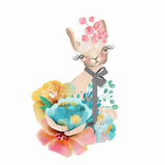 Cute watercolor baby animal llama (alpaca) with floral wreath, tied bow and flowers bouquet isolted on white illustration