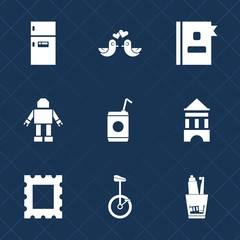Premium set with fill icons. Such as contact, business, beverage, toothpaste, white, border, equipment, couple, photo, hygiene, appliance, love, bike, romantic, food, information, tower, refrigerator