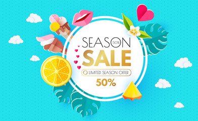 Summer Sale Layout Design Template. Paper Art. Season Offer Banner with Circle Banner, Citrus, Plumeria, Icecream, Lips, Clouds, Pineapple Peace and Monstera Leaves on Colorful Bright Background.