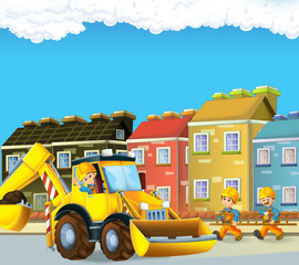 cartoon scene with worker busy on the construction site - builder doing some work - illustration for children
