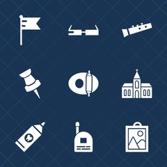 Premium set with fill icons. Such as architecture, young, food, image, nation, communication, modern, usa, building, technology, sound, banner, brush, trumpet, country, pipe, picture, internet, health