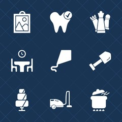 Premium set with fill icons. Such as game, health, white, tool, dinner, hygiene, web, dentist, sky, strategy, image, cake, mouth, family, joy, dish, king, home, camera, healthy, photo, picture, fun