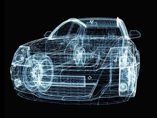 Abstract car consisting of luminous lines and dots
