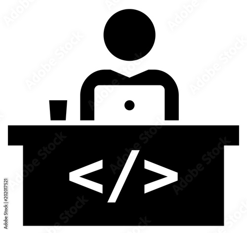Software Developer Workspace Icon Stock Image And Royalty Free