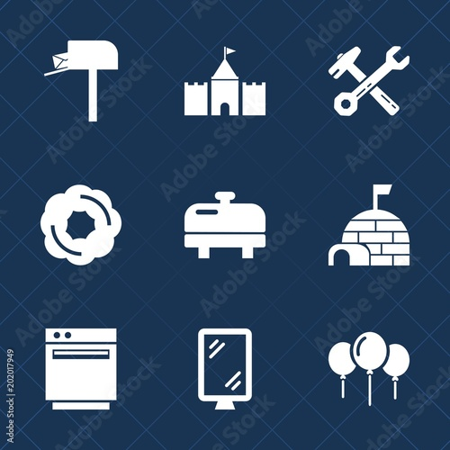 Premium set with fill icons  Such as home, sign, wrench