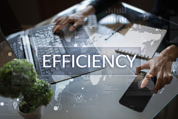 Efficiency Growth concept. Business and technology. Virtual screen.