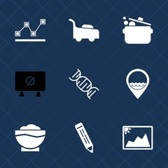 Premium set with fill icons. Such as diagram, gardening, dna, garden, location, road, stats, restaurant, food, photo, grass, pencil, chart, lawn, frame, graph, image, cooking, transportation, work