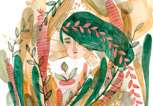 Woman with green hair surrounded by plants