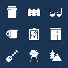 Premium set with fill icons. Such as business, picture, object, real, grill, shovel, cooking, forest, jar, vision, environment, fence, bbq, construction, measurement, landscape, transparent, wooden