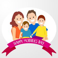 Happy family mother father sons cartoon character