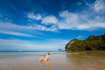 Woman on tropical Koh Mook