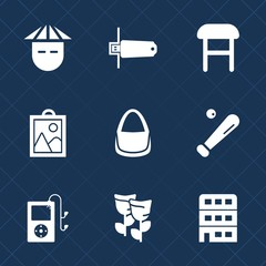 Premium set with fill icons. Such as baseball, women, digital, modern, ball, nature, asian, memory, people, female, chair, card, person, technology, picture, home, comfortable, sport, bag, league
