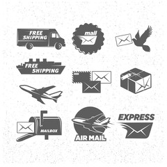 Vintage post service icons set, vector illustrations.