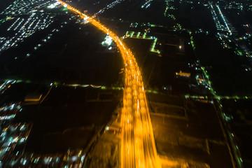 Interchange night traffic cross road aerial view