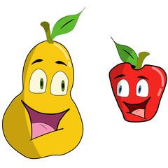 Cartoon apple and pear