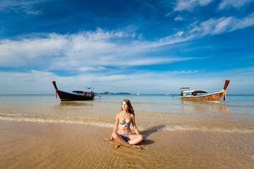 Yoga on tropical Koh Mook