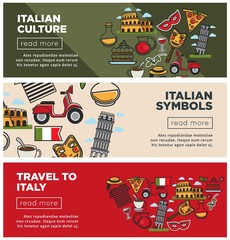 Italian culture and symbols on internet promo banners set
