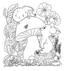 Vector illustration. The mouse on the stump watches the hedgehog that sits on the mushroom. Coloring book. Anti Stress for adults and children. Black and white.